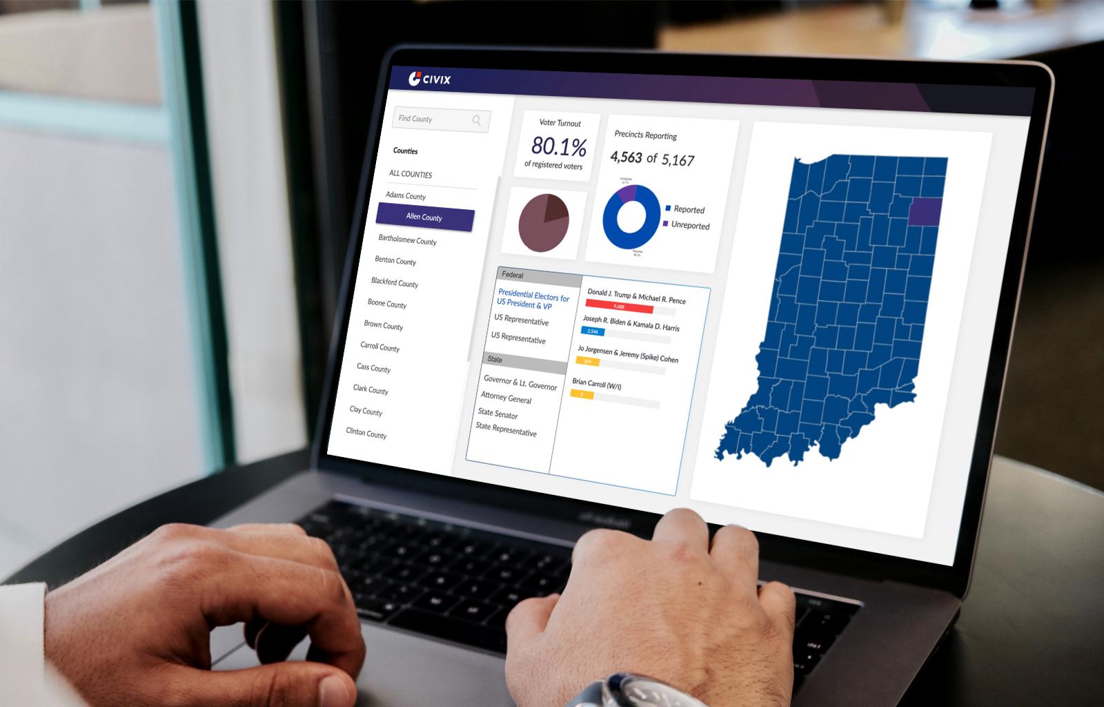 Laptop displaying Civix election management software